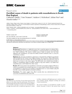 Certified causes of death in patients with mesothelioma in