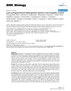 female specific lethal genetic systems for use Late-acting dominant lethal genetic systems and  carry a dominant lethal genetic system could be used to  drosophila for female-specific promoters .
